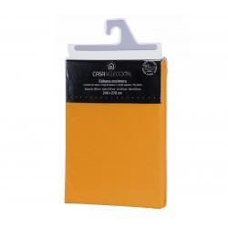 Sábana encimera basica lisa cama 150 naranja 270 x 240 cm algodon/poliester.
