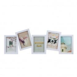 Portafotos plastico multiple moderno blanco para 5 Fotos 13x18 cm
