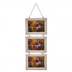 Marco de fotos multiple colgante original de madera para 3 fotos 13x18 cm