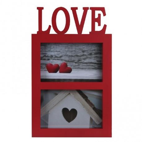 Portafotos doble romántico rojo de plástico love para decoración France