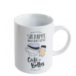 Taza original con mensaje castellano CAFE Y BOLLOS en caja de regalo