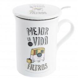 """Taza de té Mejor la vida sin filtros """" en caja de regalo"""