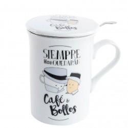 """Taza de té Siempre nos quedaran cafe y bollos """" en caja de regalo"""