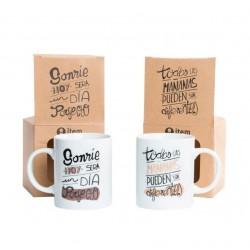 Tazas diseño original frases positivas (Set de 2 tazas) porcelana