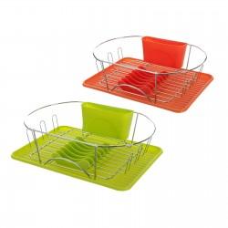 Escurreplatos 2/c hierro cromado 44 x 32 x 13 cm naranja y verde.
