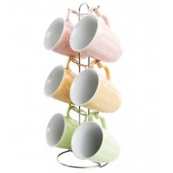 Juego 6 Tazas ceramica de colores con Soporte metal