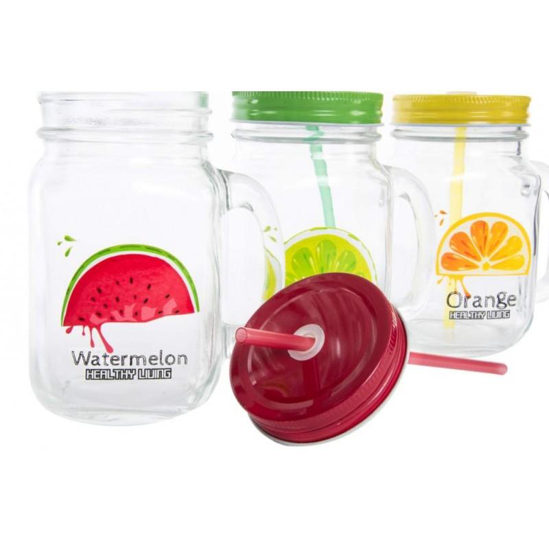 Jarra con pajita cristal fruta for Frutas de cristal