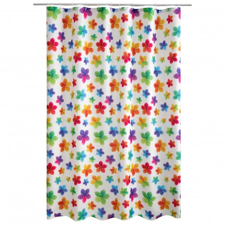 "Cortina baño ""flowers"" 100% poliester 180 x 200 cm"