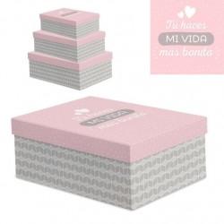 """Juego 3 cajas regalo diseño frase """"VIDA BONITA"""""""