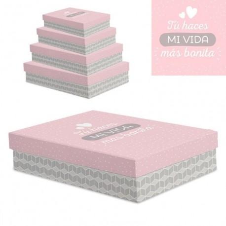 """Juego 4 cajas regalo diseño frase """"VIDA BONITA"""""""
