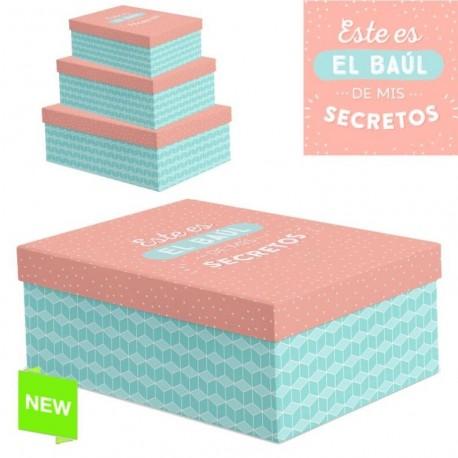 """Juego 3 cajas regalo diseño frase """"SECRETOS"""""""
