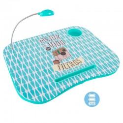 Bandeja para portatil acolchada con luz de led decorada con mensaje Mejor la vida