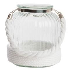 Farol portavela blanco de metal cristal con cuerda para terraza
