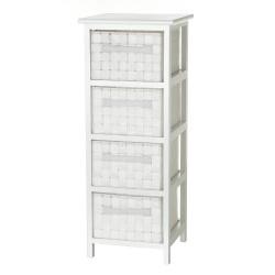 Cajonera 4 cajones blanco madera 30,50 x 30,50 x 78,50 cm