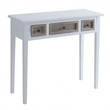 Consola madera natural blanca de 3 cajones de pino 90x34x78 cm