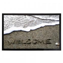 """Felpudo original gris-blanco Welcome playa de poliester / """"pvc"""" moderno. 75 x 45 cm"""