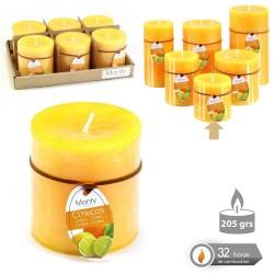 Caja 6 Vela cilíndrica perfumada naranja 7 x 7 cm 208 grs- 32 horas combustión -2% perfume cítricos