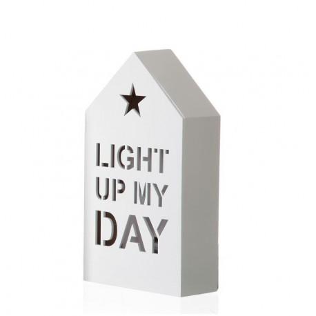 Figura casa con luz de 6 leds blanco 12x5x22 cm -Light