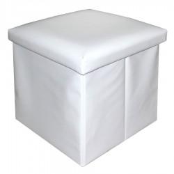 Puff plegable sencillo polipiel blanco 40 x 40 x 40 cm