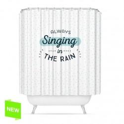 "Cortina de baño original diseño mensaje ingles""SINGING"" poliester 180 x 200cm"