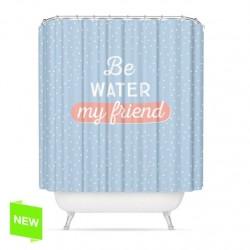 "Cortina de baño original diseño mensaje ingles ""BE WATER"" poliester 180 x 200cm"