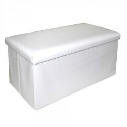 Puf arcón doble blanco polipiel 80 x 40 x 40 cm polipiel.