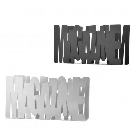 Revistero ''magazine'' 2/c metal 34 x 8,50 x 17,50 cm gris y negro.