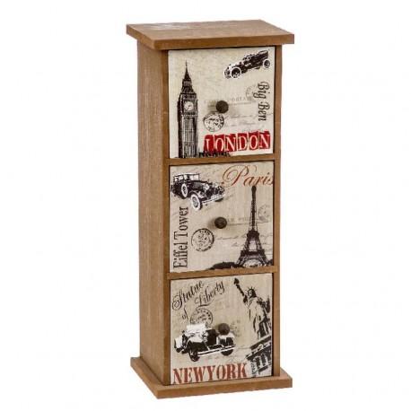 Caja de madera 3 cajones vintage 33x13x10 cm