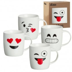 Tazas original diseño EMOTICONOS romanticas Pack de 4 mug