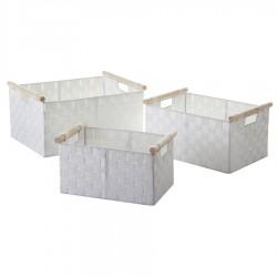 Cestas ordenacion moderna asa madera blanco S/3