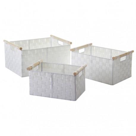 S/3 cestas orden asa madera blanco