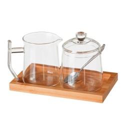 Azucarero y jarra cristal con bandeja de bambú. incluye cuchara.
