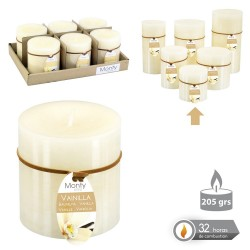 Caja 6 Vela cilíndrica perfumada crema 7 x 7 cm 208 grs- 32 horas combustión -2% perfume vainillla