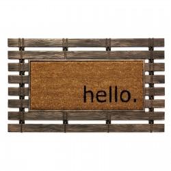 """Felpudo 75x45 rústico marron de fibra de coco """"hello wood"""""""