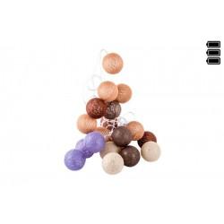 Guirnalda Luz led 20 bolas algodon tierra 6x300 cm