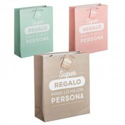 Pack 3 Bolsas papel m super regalo
