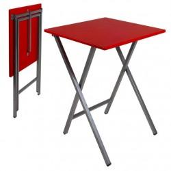 Mesa cuadrado plegable roja 48x48x65 cm