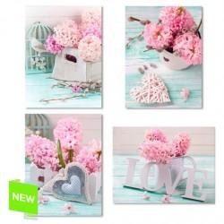 """Pack de 4 lienzo romantic decorativo """"LOVE"""" 30X40 4m"""