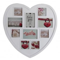 Portafotos múltiple romántico blanco de plástico corazon 10 fotos