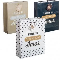 Pack 3 Bolsas de regalo papel para ti con mucho amor XL
