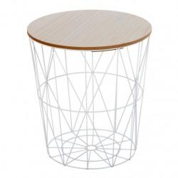 Mesa centro tapa madera nordic 40x40x42 cm