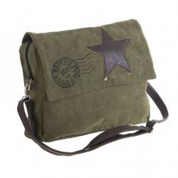 Bolsa estrella cuero verde 40x10x30 cm .