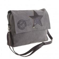 Bolsa estrella cuero gris 40x10x30 cm .