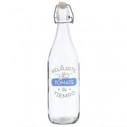 """Botella cristal de agua 1L """"RELÁJATE Y TOMATE TU TIEMPO"""""""