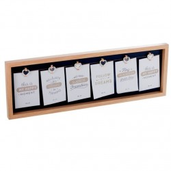 Panel portafotos con pinzas múltiple madera para 6 fotos