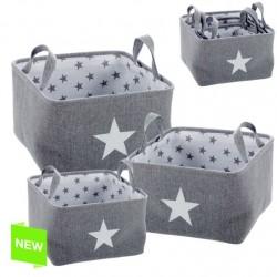 Juego de 3 cestas organizador cuadrado estrellas gris .