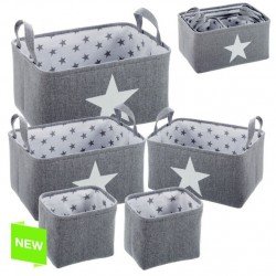 Juego de 5 cestas organizador estrellas gris .