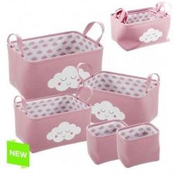 Juego de 5 cestas organizador rosa nubes .