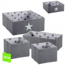 Juego de 4 cestas estrellas gris .