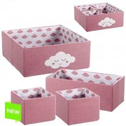 Juego de 4 cestas infantil rosa nubes .